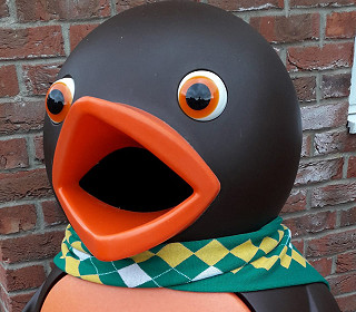 Chomp the chocolate orange bird bin revealed to be a Norwich City supporter!