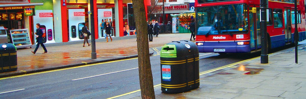 Amberol quality bins for public spaces